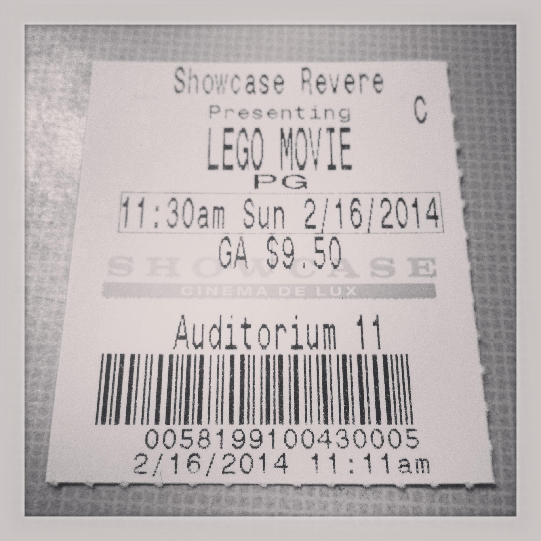 2014 02 16 Lego Movie Ticket Geoffwhaley Com